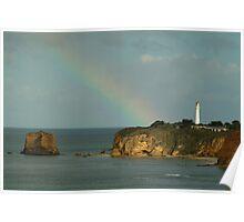 Joe Mortelliti Gallery - Natural spotlight on the cliff face at Split Point Lighthouse, Aireys Inlet, Great Ocean Road, Victoria, Australia.  Poster