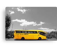 Big Yellow Bus Black and White  Canvas Print