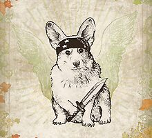 BAD dog – corgi carrying a knife    by Jenny Holmlund
