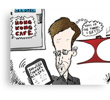 Edward Snowden Charged Caricature Canvas Print