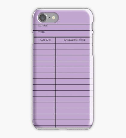 Vintage Library Card - Purple iPhone Case/Skin