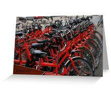 Red Bikes in Amsterdam, Holland Greeting Card