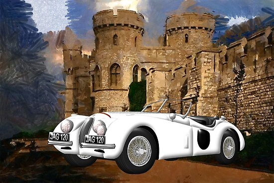 Jaguar XK120 at Windsor Castle by Dennis Melling