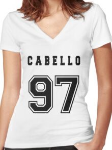 CABELLO - 97 // Black Text Women's Fitted V-Neck T-Shirt