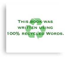 Recycled Words Canvas Print