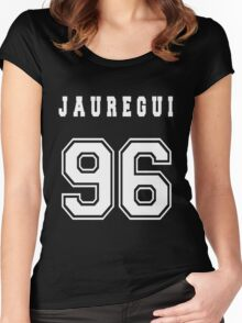 JAUREGUI - 96 // White Text Women's Fitted Scoop T-Shirt