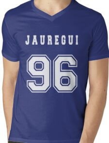 JAUREGUI - 96 // White Text Mens V-Neck T-Shirt