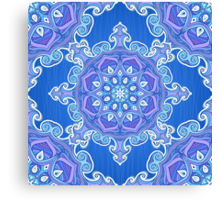 Ornate blue waves pattern Canvas Print