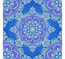 Ornate blue waves pattern Photographic Print