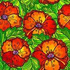 Decorative ornate poppy flowers pattern by 1enchik