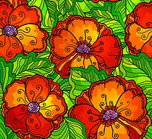 Decorative ornate poppy flowers pattern by 1enchik