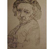 Pencil Interpretation of Rembrandt's 1659 Self Portrait Photographic Print