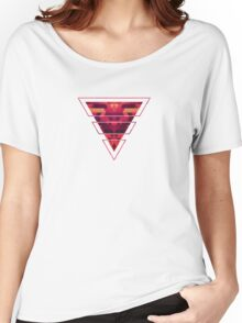 Abstract red geometric triangle texture pattern design (Digital Futrure - Hipster / Fashion) Women's Relaxed Fit T-Shirt