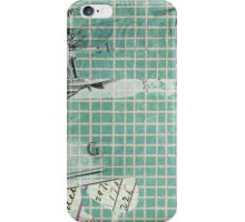 Vintage and Worn Blue Squares Wallpaper iPhone Case/Skin