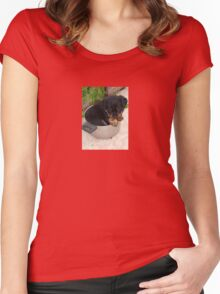 Rotts for Dinner? Women's Fitted Scoop T-Shirt