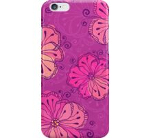 Purple ornate doodle flowers pattern iPhone Case/Skin