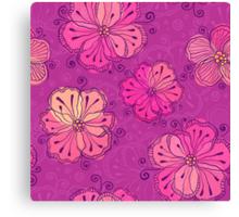 Purple ornate doodle flowers pattern Canvas Print