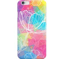 Rainbow triangles with white flowers iPhone Case/Skin