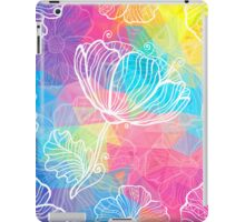 Rainbow triangles with white flowers iPad Case/Skin