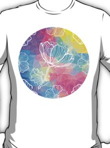 Rainbow triangles with white flowers T-Shirt