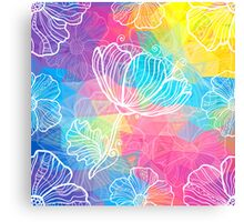 Rainbow triangles with white flowers Canvas Print