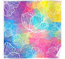Rainbow triangles with white flowers Poster