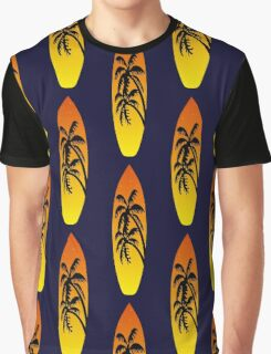 Surfboard Palm Trees (Sunset) Graphic T-Shirt