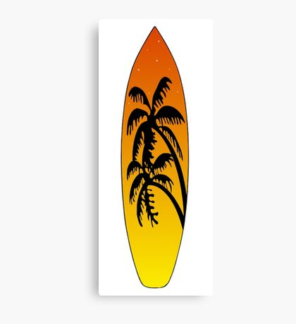 Surfboard Palm Trees (Sunset) Canvas Print
