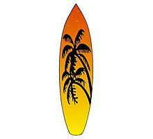 Surfboard Palm Trees (Sunset) Photographic Print