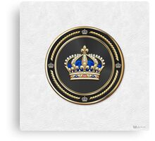 Royal Crown of France over White Leather  Canvas Print