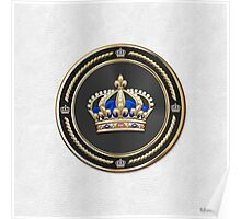 Royal Crown of France over White Leather  Poster