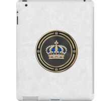 Royal Crown of France over White Leather  iPad Case/Skin