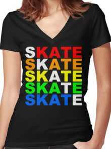 skate stacks Women's Fitted V-Neck T-Shirt