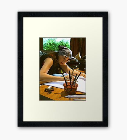 drawing . . . with my pencil holder Framed Print