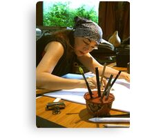 drawing . . . with my pencil holder Canvas Print