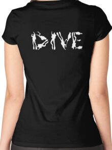 DIVE WITH DIVERS IN WHITE Women's Fitted Scoop T-Shirt