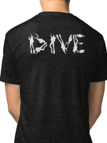 DIVE WITH DIVERS IN WHITE Tri-blend T-Shirt
