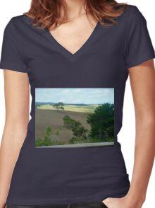 *Pentland Hills taken from Moving Car - Myrniong, Vic. Australia* Women's Fitted V-Neck T-Shirt
