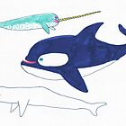 orca, narwhal and beluga by maybemary