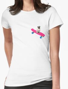 Skater Pug Womens Fitted T-Shirt