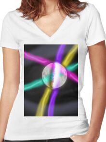 retro moon Women's Fitted V-Neck T-Shirt
