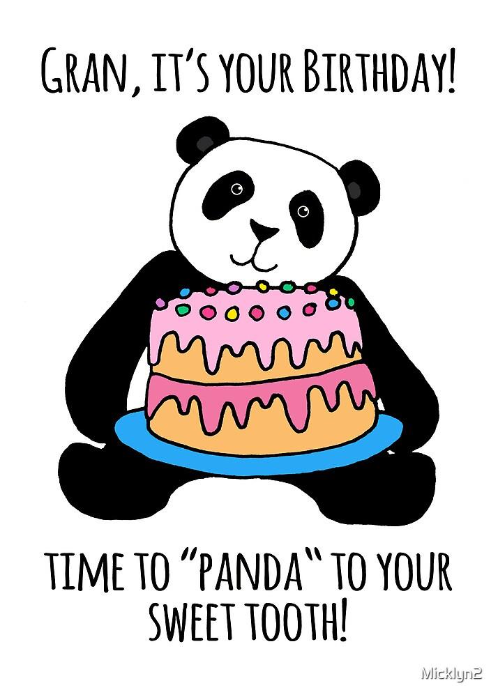 Panda Birthday Card for Gran by Micklyn2