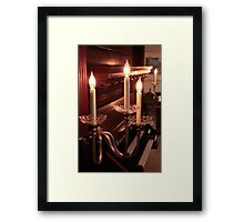 Piano and Candle Light Framed Print