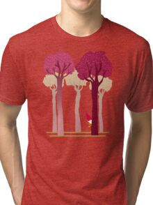 colorful forest with cute dwarf Tri-blend T-Shirt