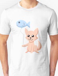 Cat and Balloon (peach) Unisex T-Shirt