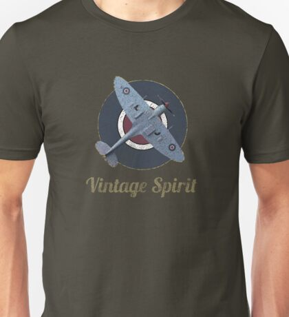 RAF Fighter Vintage Spirit Spitfire Logo Graphic Unisex T-Shirt