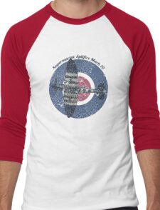 Vintage Fighter Plane Supermarine Spitfire Mark 19 Men's Baseball ¾ T-Shirt