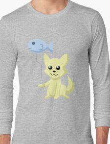 Cat and Balloon (yellow) Long Sleeve T-Shirt