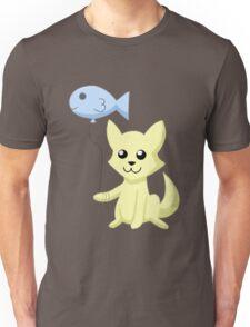 Cat and Balloon (yellow) Unisex T-Shirt