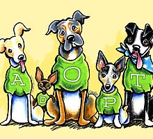 Think Adoption | Green Tee Shelter Dogs by offleashart